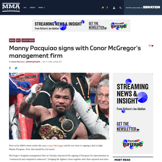 ArchiveBay.com - www.mmafighting.com/2020/2/11/21133838/manny-pacquiao-signs-with-conor-mcgregors-management-firm - Manny Pacquiao signs with Conor McGregor's management firm - MMA Fighting