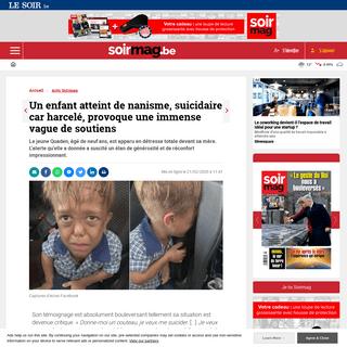 ArchiveBay.com - soirmag.lesoir.be/281890/article/2020-02-21/un-enfant-atteint-de-nanisme-suicidaire-car-harcele-provoque-une-immense-vague - Un enfant atteint de nanisme, suicidaire car harcelé, provoque une immense vague de soutiens - Soirmag