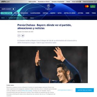 Previa Chelsea - Bayern- dónde ver el partido, alineaciones y noticias - UEFA Champions League - UEFA.com