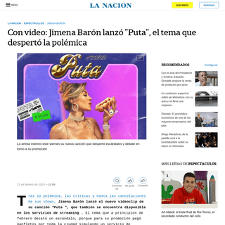 Con video- Jimena Barón lanzó -Puta-, el tema que despertó la polémica - LA NACION