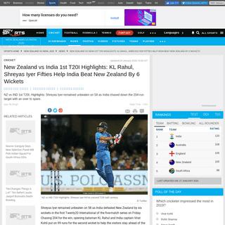 New Zealand vs India 1st T20I, NZ vs IND Highlights- KL Rahul, Shreyas Iyer Fifties Help India Beat New Zealand By 6 Wickets - C