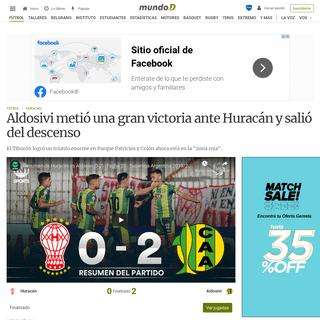 Aldosivi metió una gran victoria ante Huracán y salió del descenso - Mundo D