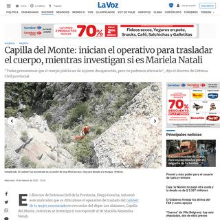 Capilla del Monte- inician el operativo para trasladar el cuerpo, mientras investigan si es Mariela Natali - La Voz