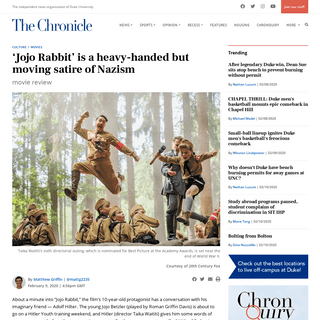 'Jojo Rabbit' is a heavy-handed but moving satire of Nazism - The Chronicle