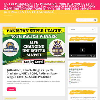 IPL T20 PREDICTION - PSL PREDICTION - WHO WILL WIN IPL 2019 - IPL 2019 PREDICTION - IPL T20 2019 MATCH PREDICTIONS - TODAY MATCH
