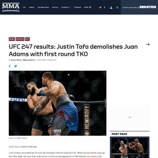 UFC 247 results- Justin Tafa demolishes Juan Adams with first round TKO - MMA Fighting
