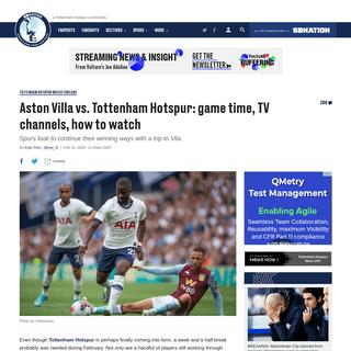 Aston Villa vs. Tottenham Hotspur- game time, TV channels, how to watch - Cartilage Free Captain