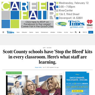 Scott County schools have 'Stop the Bleed' kits in every classroom. Here's what staff are learning. - Local Education - qctimes.