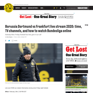 Borussia Dortmund vs Frankfurt live stream 2020- time, TV channels, and how to watch Bundesliga online - Fear The Wall