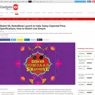 Redmi 9A, RedmiBook Launch in India Today- Expected Price, Specifications, How to Watch Live Stream - Technology News