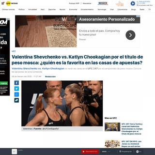 UFC - Valentina Shevchenko vs. Katlyn Chookagian EN VIVO- así van las apuestas por UFC 247 - Jon Jones vs. Dominick Reyes - RPP