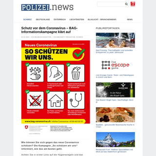 Schutz vor dem Coronavirus – BAG-Informationskampagne klärt auf › Polizei.news - Aktuelle Polizeimeldungen