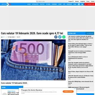 Curs valutar 19 februarie 2020. Euro scade spre 4,77 lei