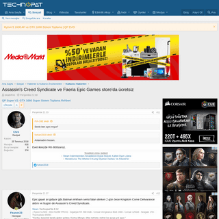 Assassin's Creed Syndicate ve Faeria Epic Games store'da ücretsiz - Technopat Sosyal