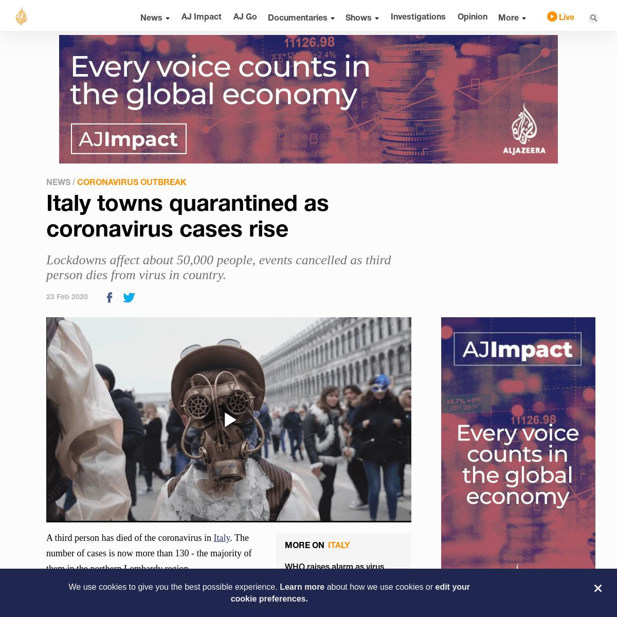 Italy towns quarantined as coronavirus cases rise - Coronavirus outbreak News - Al Jazeera