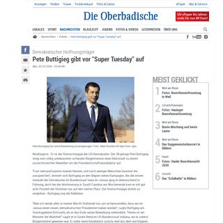 Demokratischer Hoffnungsträger- Pete Buttigieg gibt vor Super Tuesday auf - Politik - Verlagshaus Jaumann