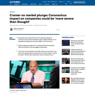 Cramer on market plunge- Coronavirus impact 'more severe than thought'