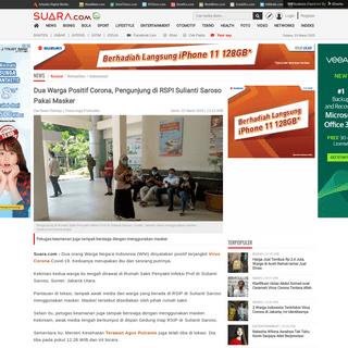 Dua Warga Positif Corona, Pengunjung di RSPI Sulianti Saroso Pakai Masker