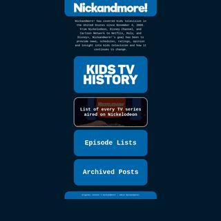 Nickandmore! - Kids TV History, Nickelodeon, Disney Channel, Cartoon Network