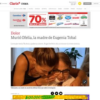 Murió Ofelia, la madre de Eugenia Tobal - Clarín