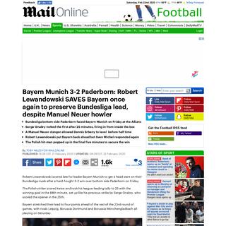 Bayern Munich 3-2 Paderborn- Robert Lewandowski SAVES Bayern once again after Manuel Neuer howler - Daily Mail Online