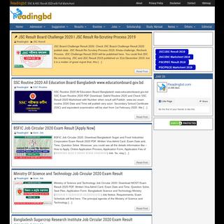 Readingbd.com । SSC Result 2020, HSC Result 2020 with Full Marksheet