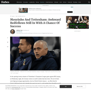 Mourinho And Tottenham- Awkward Bedfellows Still In With A Chance Of Success