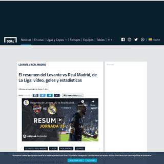 El resumen del Levante vs Real Madrid, de La Liga- vídeo, goles y estadísticas - Goal.com
