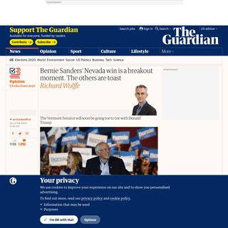 ArchiveBay.com - www.theguardian.com/commentisfree/2020/feb/22/bernie-sanders-nevada-win-is-a-breakout-moment-the-others-are-toast - Bernie Sanders' Nevada win is a breakout moment. The others are toast - US news - The Guardian