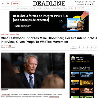 Clint Eastwood Endorses Mike BloombergAnd #MeToo Movement – Deadline