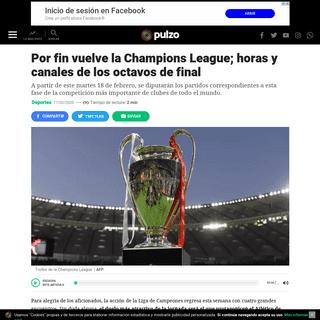 Por fin vuelve la Champions League; horas y canales de los octavos de final
