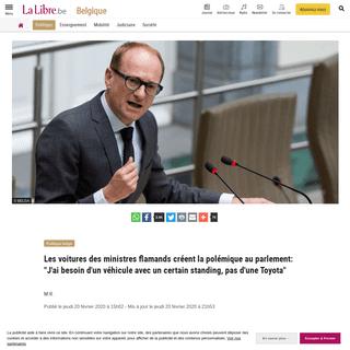 ArchiveBay.com - www.lalibre.be/belgique/politique-belge/les-voitures-des-ministres-flamands-creent-la-polemique-au-parlement-j-ai-besoin-d-une-voiture-avec-un-certain-standing-pas-d-une-toyota-5e4e854c9978e2310687c870 - Les voitures des ministres flamands créent la polémique au parlement- -J'ai besoin d'un véhicule avec un certain standing, pa