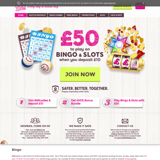 Online Bingo & Slots at 888 Ladies - Deposit £10 play with £50