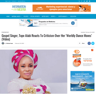 Tope Alabi Reacts To Criticism Over Her 'Worldly Dance Moves' (Video)