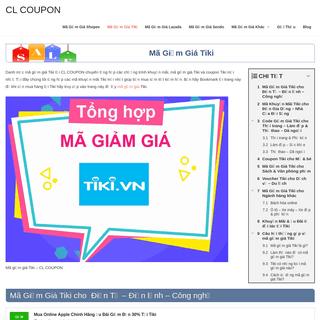Coupon & Mã giảm giá Tiki Tháng 4-2020 - CL COUPON