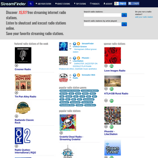 Live streaming internet radio station directory