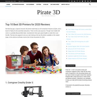 Top 10 Best 3D Printers for 2020 Reviews - Pirate 3D Printing