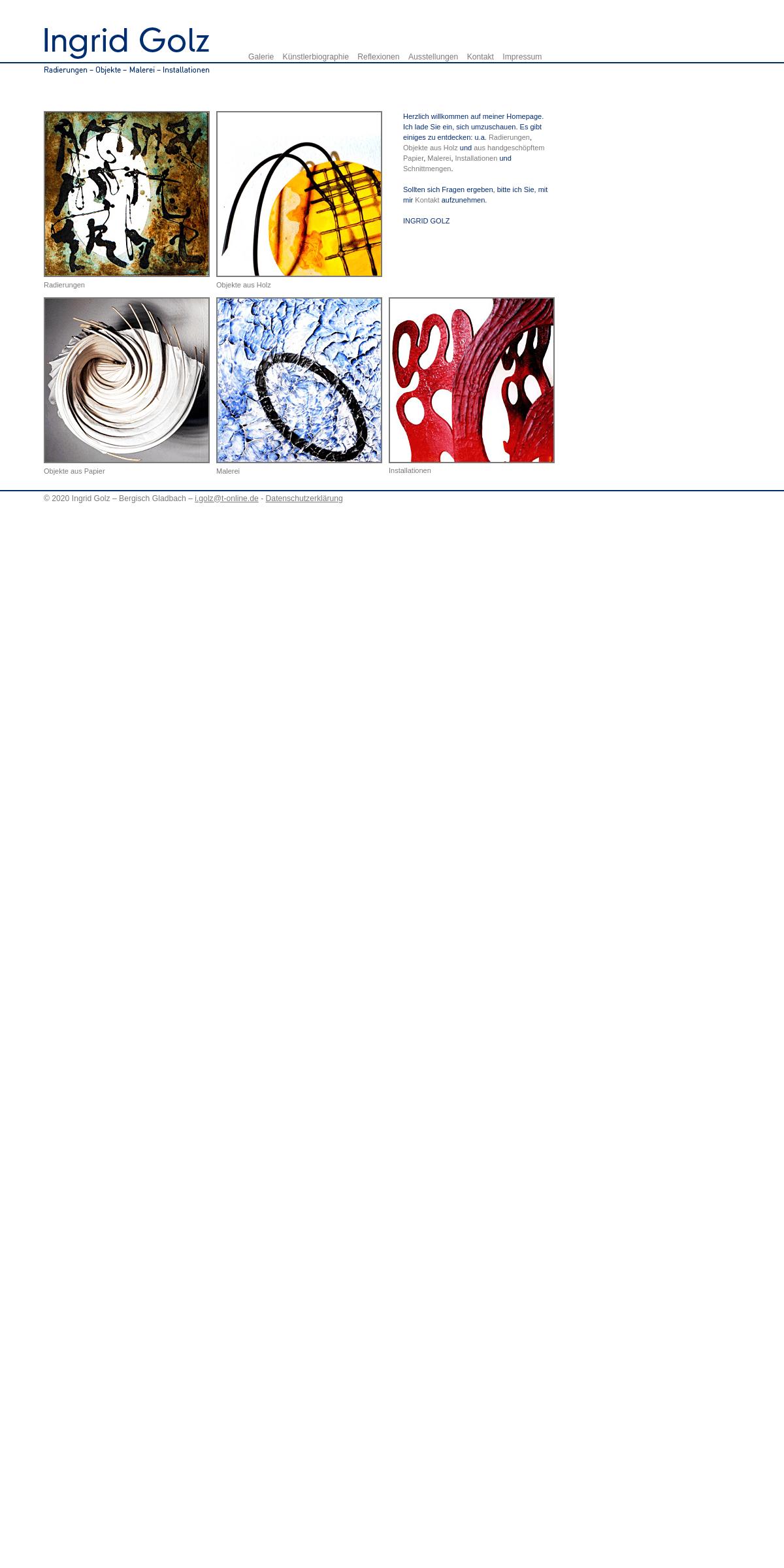 Ingrid Golz – Künstlerin- Radierungen - Objekte - Malerei - Installationen