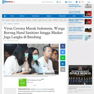 Virus Corona Masuk Indonesia, Warga Borong Hand Sanitizer hingga Masker Juga Langka di Bandung - Tribunnews.com
