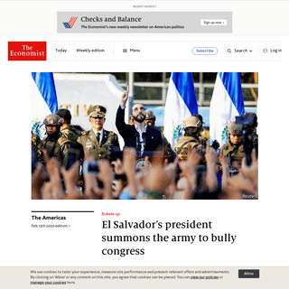 Bukele up - El Salvador's president summons the army to bully congress - The Americas - The Economist