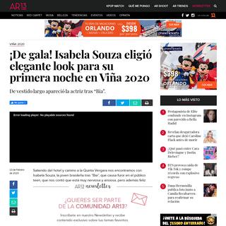 ¡De gala! Isabela Souza eligió elegante look para su primera noche en Viña 2020 - AR13.cl
