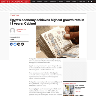 Egypt's economy achieves highest growth rate in 11 years- Cabinet - Egypt Independent