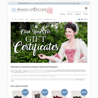 American Duchess - Historical Footwear & Reproduction Shoe Accessories