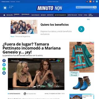 ¿Fuera de lugar- Tamara Pettinato incomodó a Mariana Genesio y... ¡ay! - Minuto Neuquen