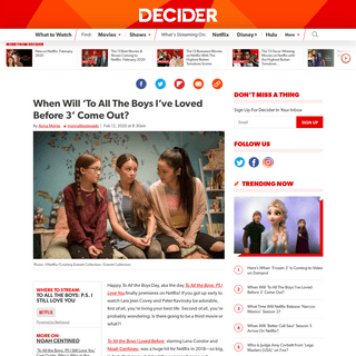 When Will 'To All The Boys I've Loved Before 3' Come Out- - Decider