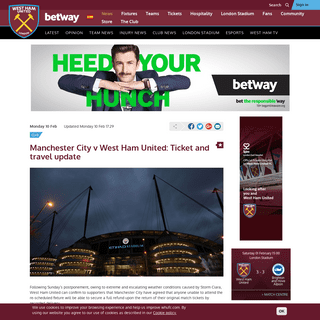 Manchester City v West Ham United- Ticket and travel update - West Ham United