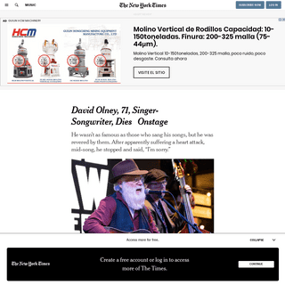 David Olney, 71, Singer-Songwriter, Dies Onstage - The New York Times