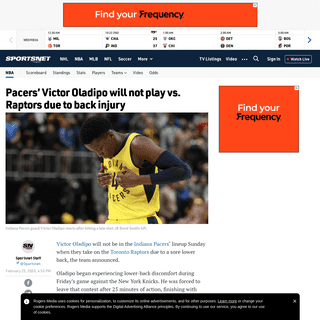 ArchiveBay.com - www.sportsnet.ca/basketball/nba/pacers-victor-oladipo-will-not-play-vs-raptors-due-back-injury/ - Pacers' Victor Oladipo will not play vs. Raptors due to back injury - Sportsnet.ca