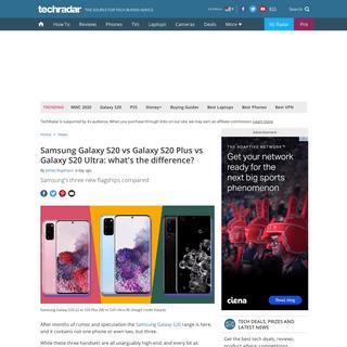 Samsung Galaxy S20 vs Galaxy S20 Plus vs Galaxy S20 Ultra- what's the difference- - TechRadar