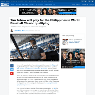 Tim Tebow will play for the Philippines in World Baseball Classic qualifying - CBSSports.com